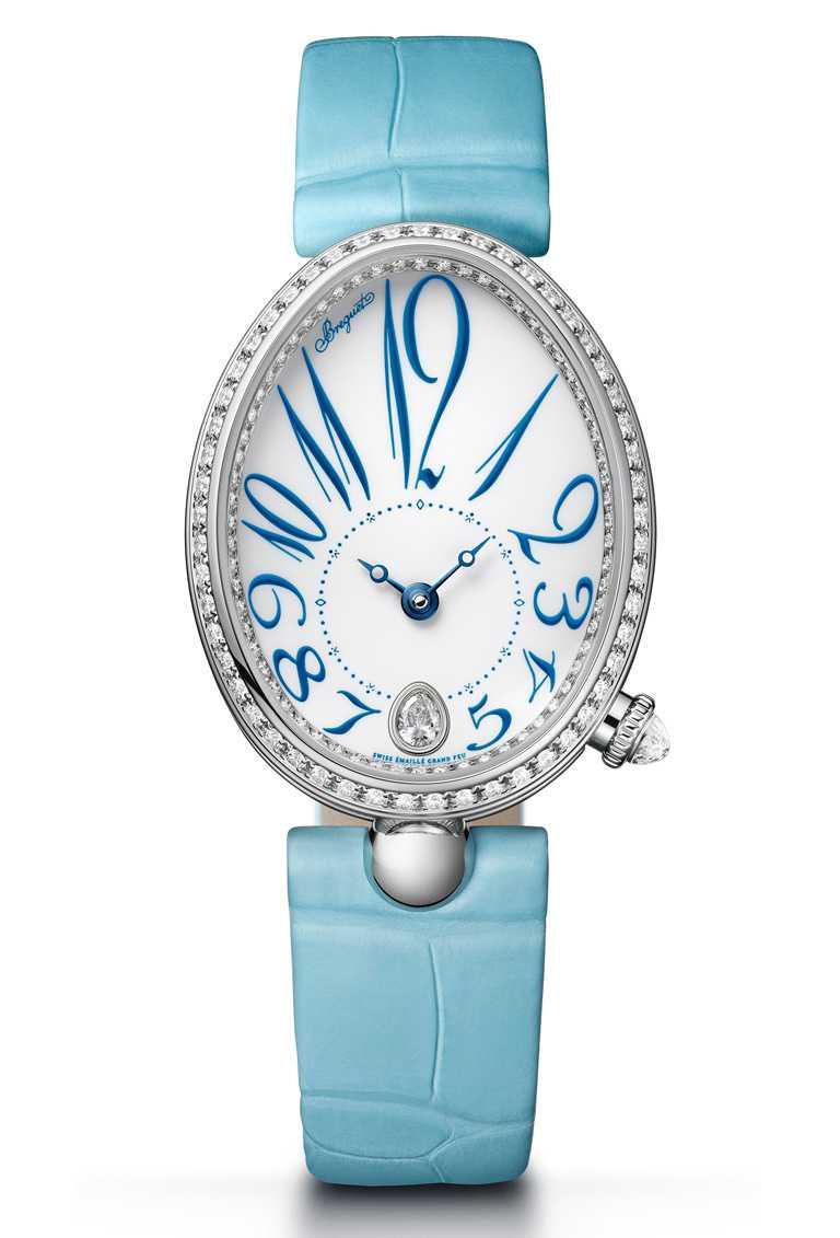 BREGUET「Reine de Naples 8918那不勒斯王后系列」仕女鑽錶,18K白金錶殼,錶徑36.5mm,鑽石147顆╱1,206,000元。(圖╱BREGUET提供)
