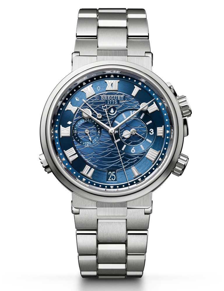 BREGUET「Marine Alarme Musicale 5547」航海系列兩地時間鬧鈴腕錶╱白金款,40mm╱1,946,000元。(圖╱BREGUET提供)