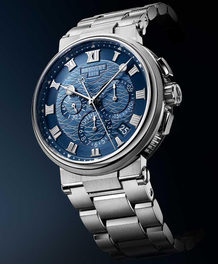BREGUET「Marine Chronographe 5527」航海系列計時腕錶╱白金款,42.3mm╱1,817,000元。(圖╱BREGUET提供)