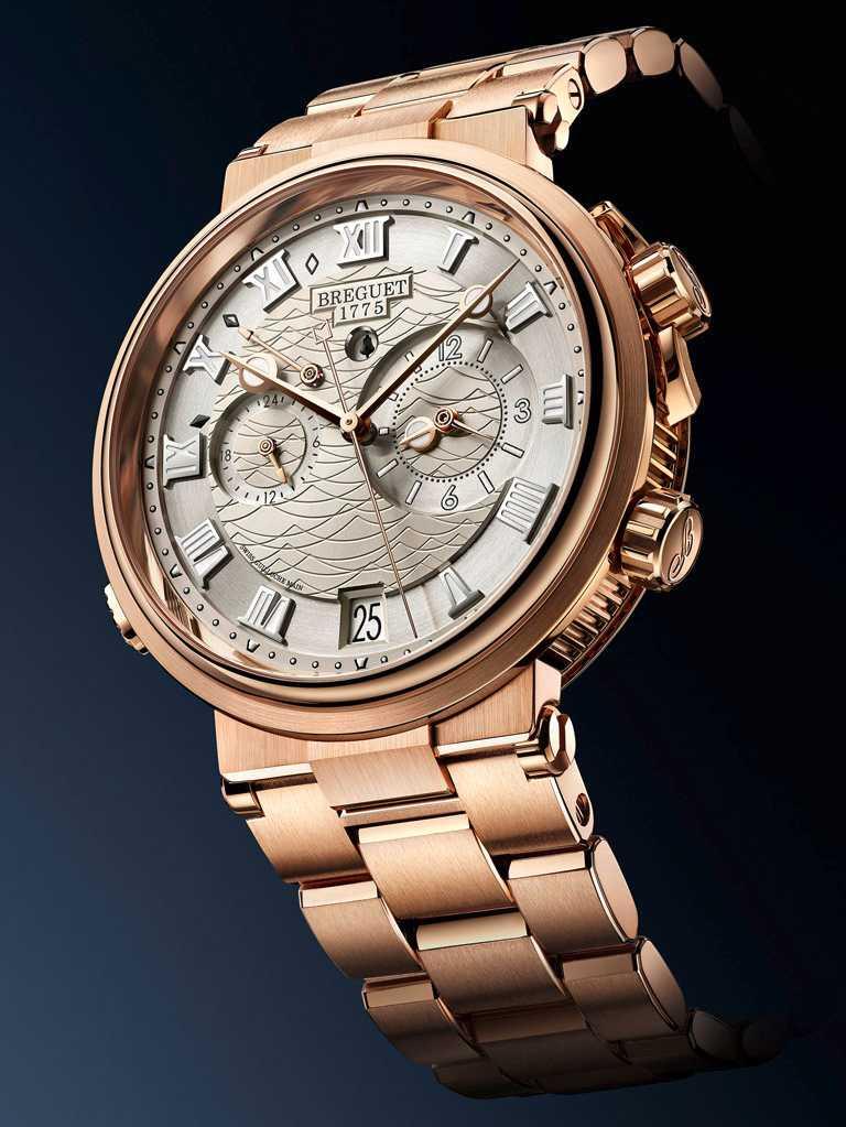 BREGUET「Marine Alarme Musicale 5547」航海系列兩地時間鬧鈴腕錶╱玫瑰金款,40mm╱1,946,000元。(圖╱BREGUET提供)