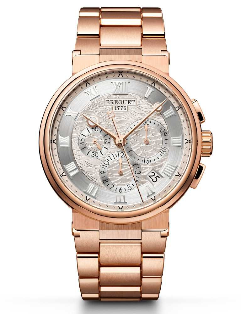 BREGUET「Marine Chronographe 5527」航海系列計時腕錶╱玫瑰金款,42.3mm╱1,817,000元。(圖╱BREGUET提供)