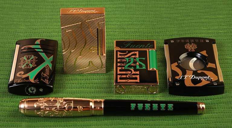 (依順時針)S.T. Dupont「Funete限量系列」Ligne 2打火機╱68,800元;(右1)「Funete限量系列」Maxijet打火機╱7,900元;「Funete限量系列」Maxijet雪茄剪╱5,900元;「Funete限量系列」Line D鋼珠筆╱49,800元。(圖╱S.T. Dupont提供)