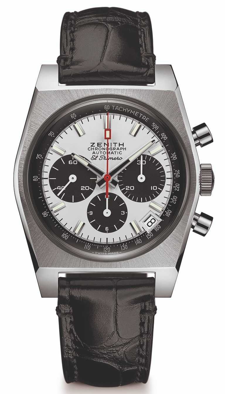ZENITH「CHRONOMASTER系列」復刻版A384 腕錶╱精鋼錶殼,黑色鱷魚皮錶帶,37mm╱253,900元。(圖╱ZENITH提供)