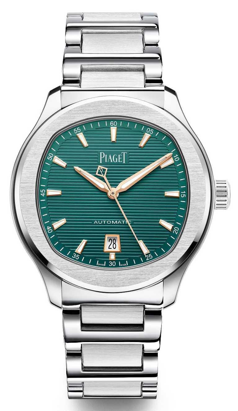 PIAGET「POLO系列」孔雀綠錶盤精鋼自動上鍊腕錶╱精鋼錶殼,孔雀綠面盤,精鋼鍊帶,42mm,限量888只╱384,000元。(圖╱PIAGET提供)