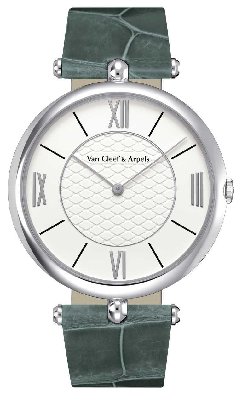 Van Cleef & Arpels「Pierre Arpels系列」腕錶╱白K金錶殼,炭灰色鱷魚皮錶帶,42mm╱453,000元。(圖╱Van Cleef & Arpels提供)