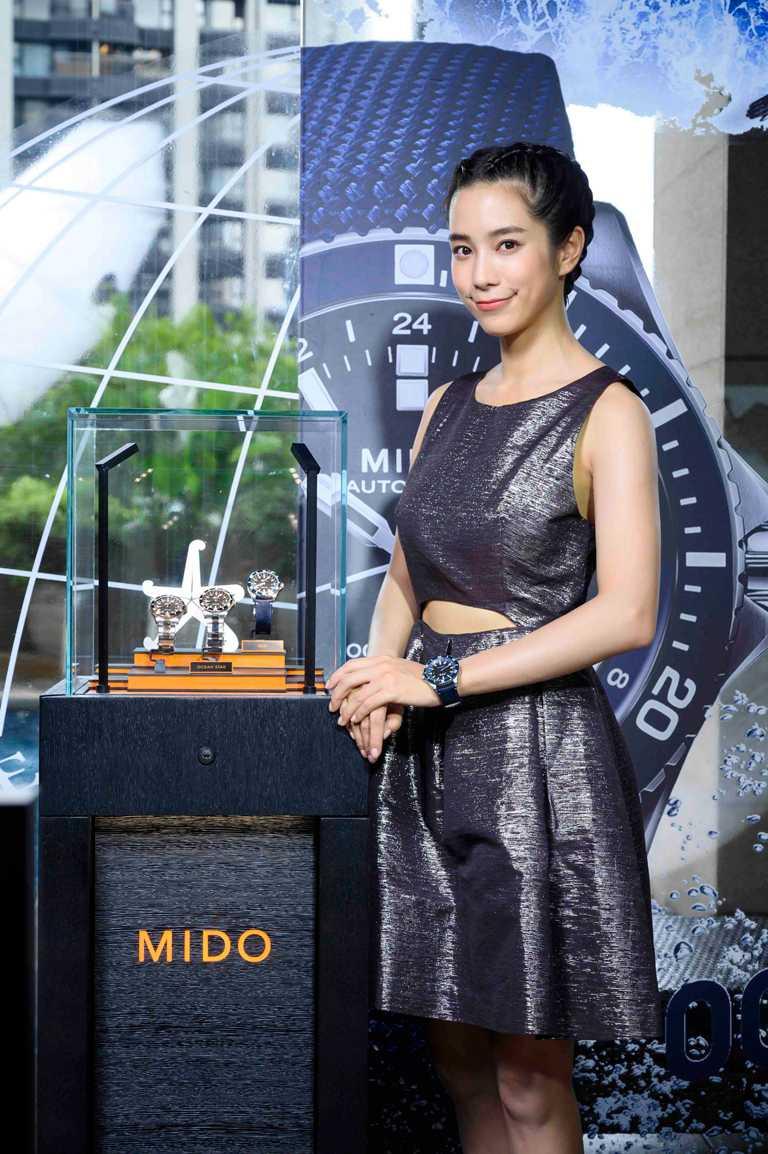 熱愛自由潛水的金鐘獎影后温貞菱,以仿效鯊魚鰭的個性髮型出席,自信演繹MIDO「Ocean Star GMT海洋之星系列」兩地時區腕錶。(圖╱MIDO提供)