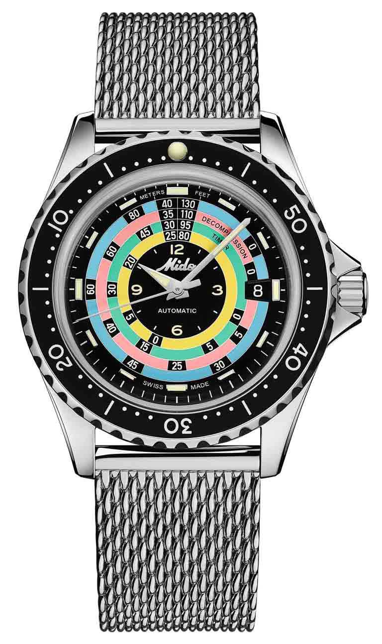 MIDO「Ocean Star Decompression Timer 1961海洋之星減壓復刻1961」限量錶╱不鏽鋼錶殼,44mm,不鏽鋼米蘭鍊帶╱36,900元。(圖╱MIDO提供)