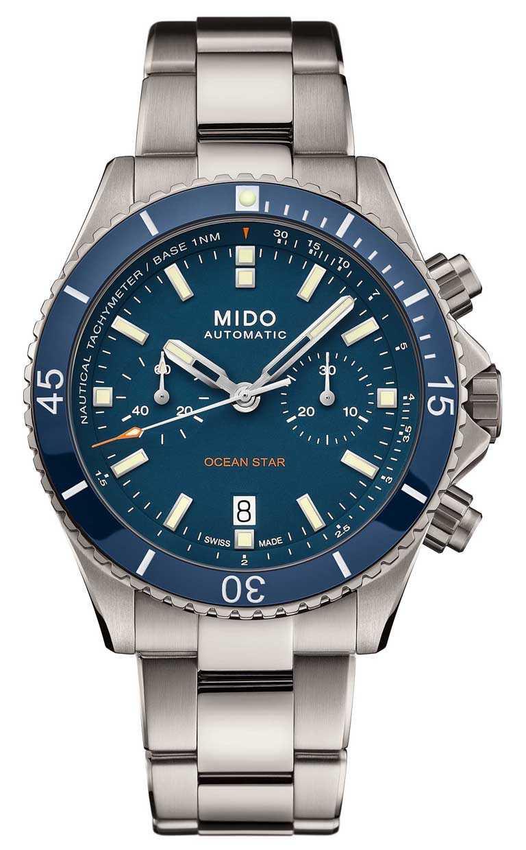 MIDO「Ocean Star Chronograph海洋之星」計時碼錶,地中海藍面款╱鈦金屬錶殼,44mm,鈦金屬錶帶╱74,000元。(圖╱MIDO提供)