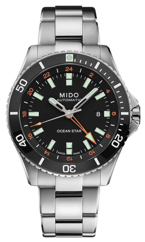 MIDO「Ocean Star GMT海洋之星」兩地時區腕錶,黑面款╱不鏽鋼錶殼,44mm,不鏽鋼錶帶╱39,300元。(圖╱MIDO提供)