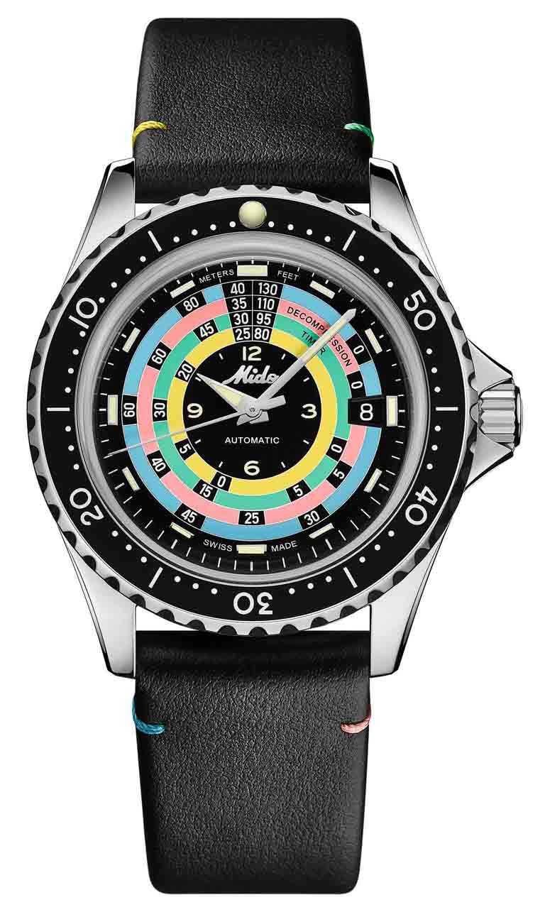 MIDO「Ocean Star Decompression Timer 1961海洋之星減壓復刻1961」限量錶╱不鏽鋼錶殼,44mm,小牛皮錶帶╱36,900元。(圖╱MIDO提供)