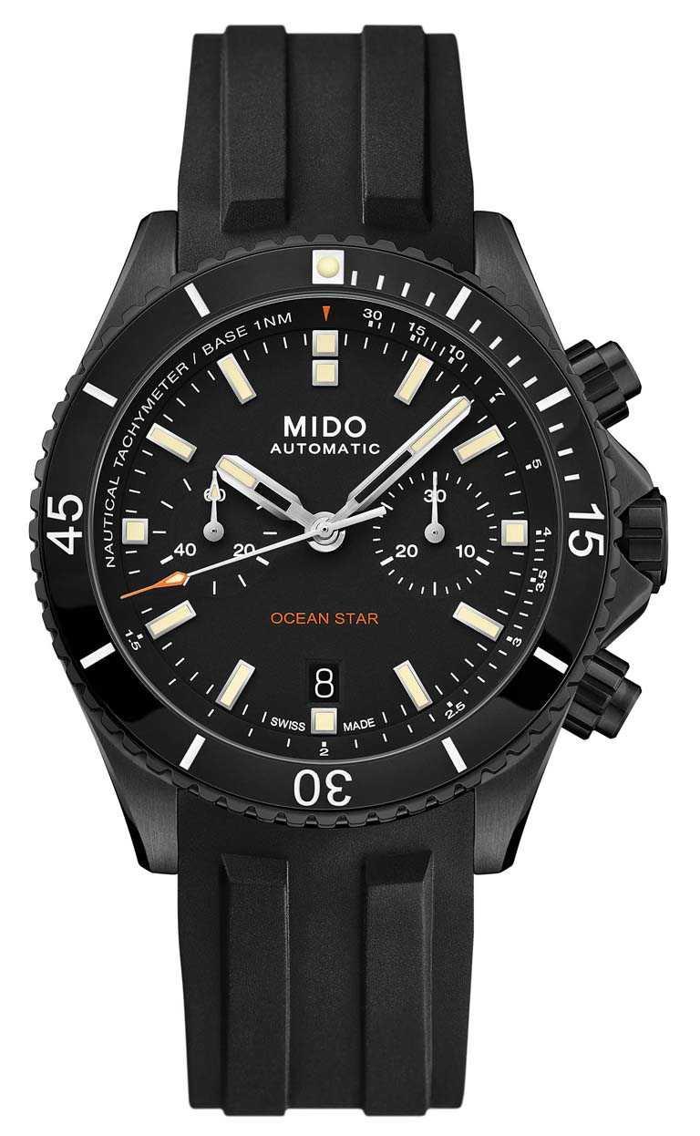 MIDO「Ocean Star Chronograph海洋之星」計時碼錶,黑面特別版╱DLC類鑽碳處理鈦金屬錶殼,44mm,黑色橡膠錶帶╱75,500元。(圖╱MIDO提供)