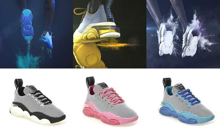 全系列男款及女款共推出黑色、藍色、黃色、粉色,8月25日於微風信義專櫃獨家上市。(圖/MOSCHINO)