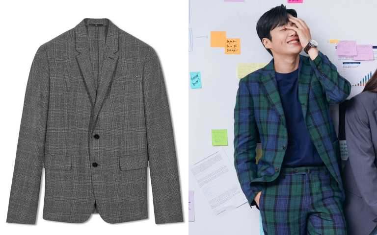 編輯推薦: Berluti灰色羊毛格紋西裝外套/88,500元。(圖/翻攝自網路、品牌提供)