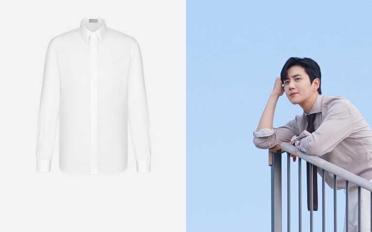 編輯推薦合身襯衫:DIOR CD刺繡白色純棉府綢襯衫/23,000元。(圖/翻攝自網路、品牌提供)