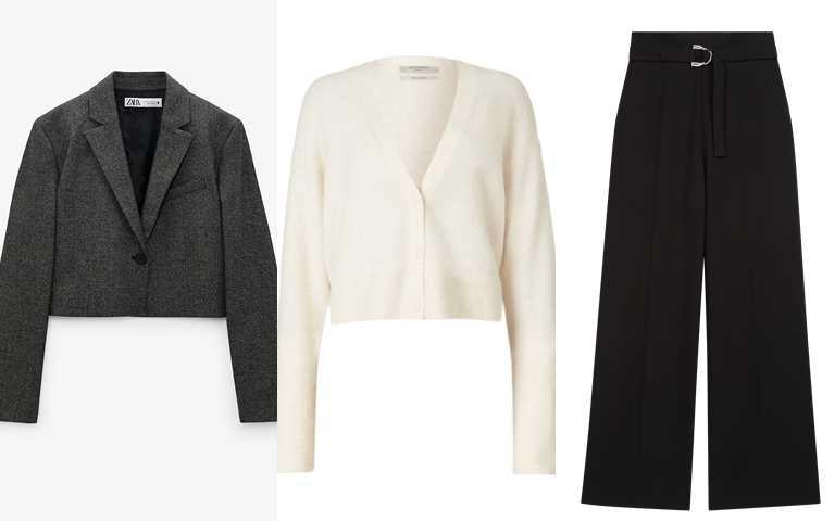 喜歡邵雨薇的造型妳可以這樣搭>>ZARA格紋短版西裝外套/2,490元、ALLSAINTS Vika白色短版針織外套/8,400元、Maje黑色西裝寬褲/8,580元(圖/品牌提供)