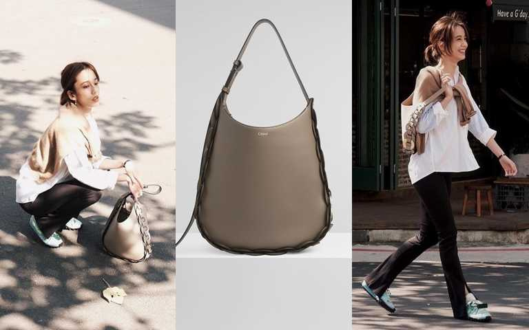 陳庭妮拿的是Chloe Darryl灰色中型肩背包(60,000元)。(圖/翻攝陳庭妮IG、品牌提供)