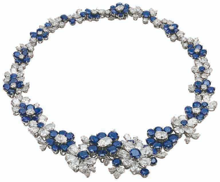 BVLGARI「Heritage典藏」系列,藍寶石與鑽石項鍊,創作時間約1961年。(圖╱BVLGARI提供)