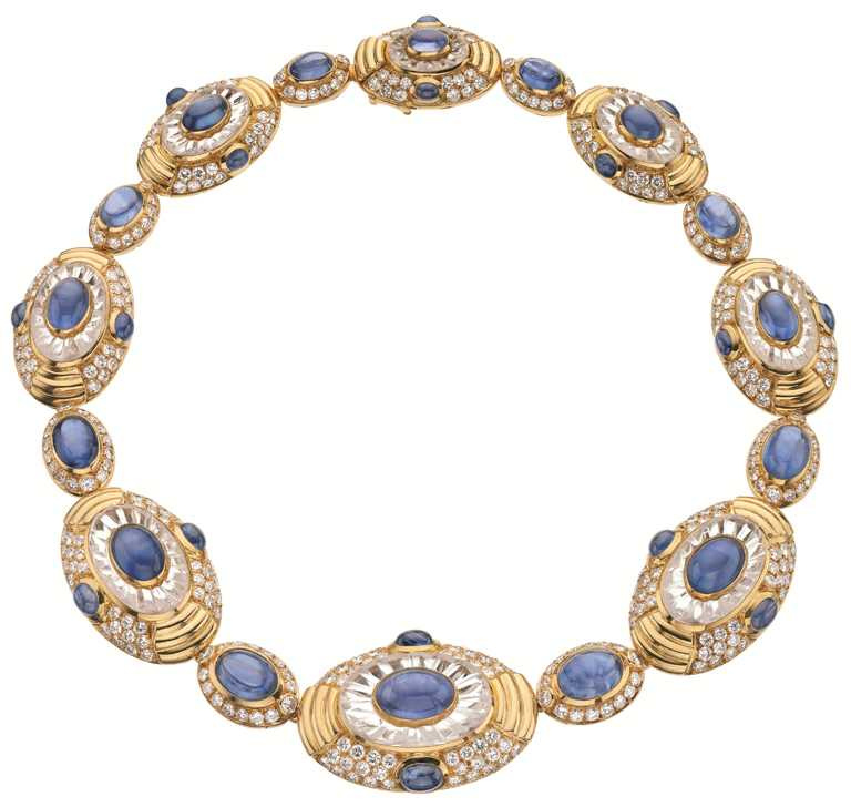 BVLGARI「Heritage典藏」系列,頂級藍寶石、水晶與鑽石項鍊。(圖╱BVLGARI提供)