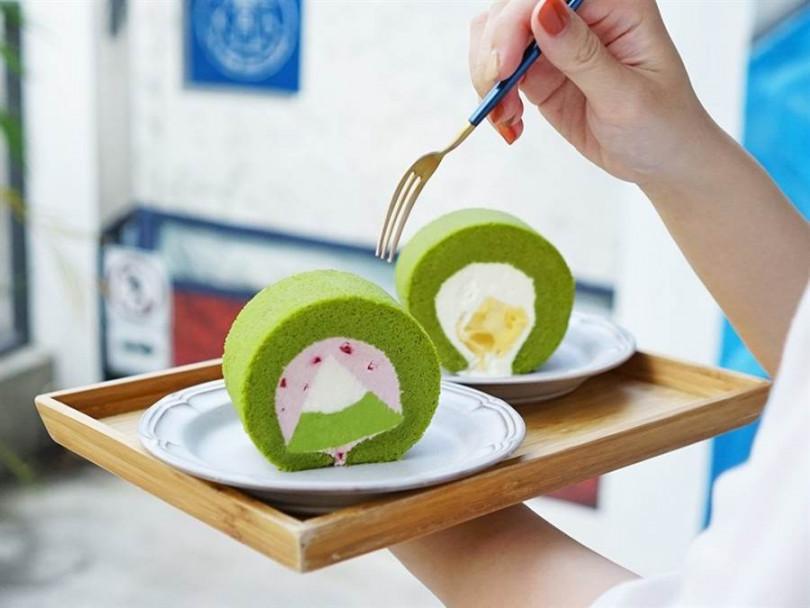 抹莓富士山生乳捲(左),單片 120元、 抹茶榴槤生乳捲,單片 135元  。(圖/Kinber金帛手製提供)
