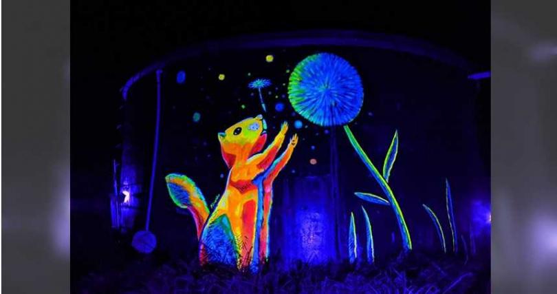 特殊螢光的動物彩繪,演繹夜晚的繽紛色彩。(圖/富里鄉農會)