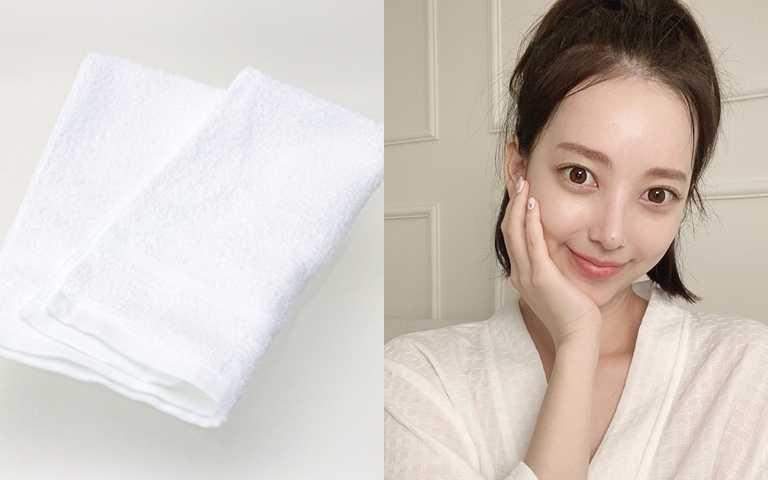 加點水再搭配濕毛巾,這樣洗臉時就不怕拉扯傷害到肌膚。(圖/翻攝網路、IG@luv_me_baby_)