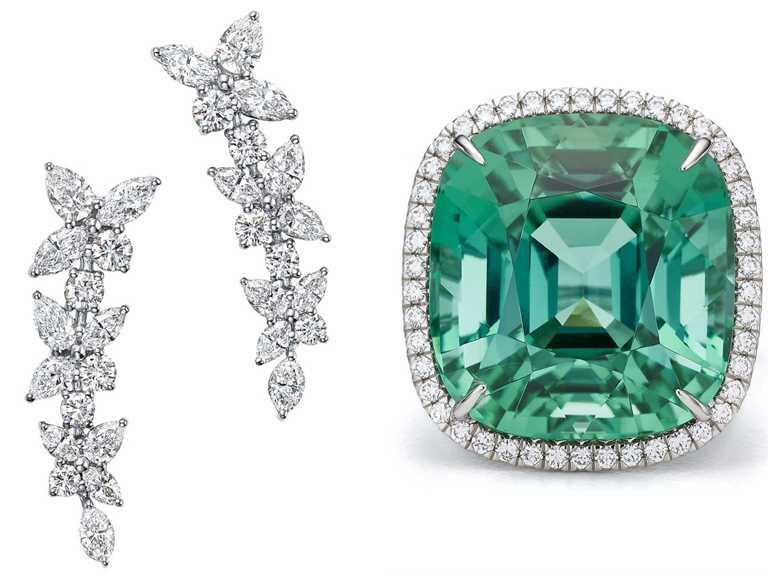 (左)TIFFANY & CO.「Victoria」系列花簇設計混合式切割鑽石耳環╱2,000,000元;(右)主石逾22克拉的綠色碧璽與鑽石戒指╱3,000,000元。(圖╱TIFFANY & CO.提供)