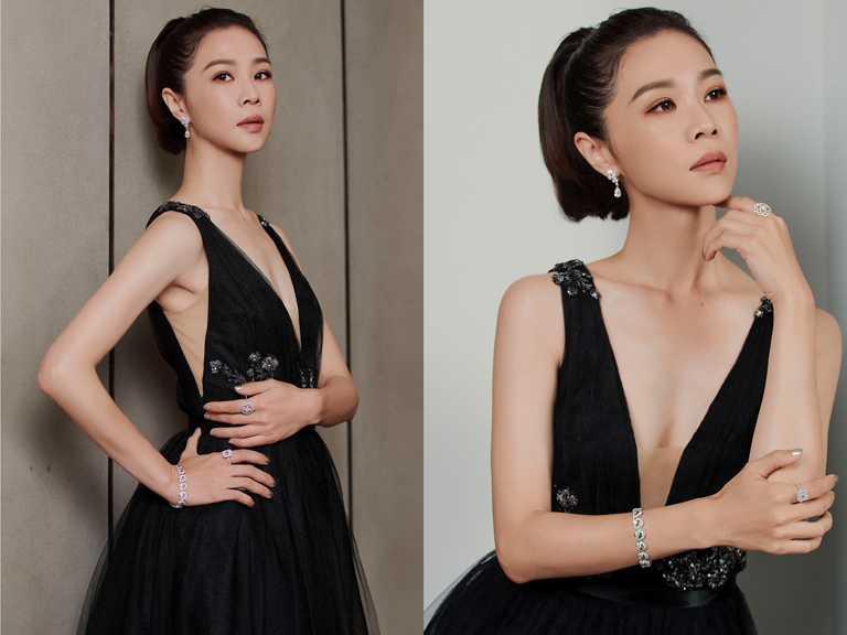 入圍本屆金馬女配角的謝盈萱,以一襲黑色深V性感禮服,搭配DE BEERS高級珠寶,流露知性美感。(圖╱DE BEERS提供)