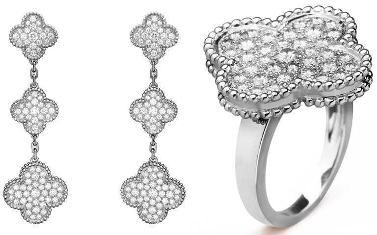 (左)Van Cleef & Arpels「Magic Alhambra」白金鑽石耳環╱1,380,000元;(右)「Magic Alhambr