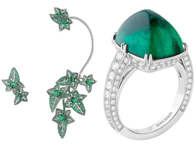 (左)BOUCHERON「Lierre De Paris」常春藤耳環╱4,810,000元;(右)「Joy」鉑金鑲嵌祖母綠及鑽石指環╱價格店洽。(圖╱BOUCHERON提供)