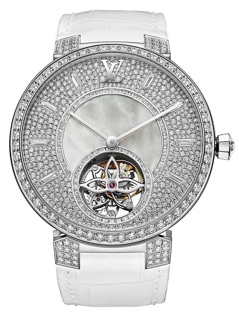 LV 「Tambour Slim Lady Tourbillon」腕錶╱1,790,000元。(圖╱LOUIS VUITTON提供)