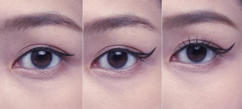 (由左至右)(步驟1)膚金色眼影刷塗上眼窩與下眼際,接著使用黑色眼線液筆將內眼線根部填滿後,再順著拉出纖細外眼線。(步驟2)在眼角ㄑ字型下方順著眼型黏貼膠帶後,將步驟1的外眼線沿著膠帶往上拉提描繪,於眼角處再拉出一條眼線延伸到剛剛上揚的點接起來。(步驟3)以睫毛夾夾翹睫毛,並順著睫毛生長方向的手法刷塗上纖長型睫毛膏。(圖/時報周刊提供)
