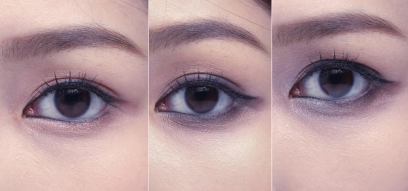 (由左至右)(步驟1)使用黑色眼線膠筆描繪上眼線&下眼線。眼尾線條不需刻意拉長,與眼型平長即可。(步驟2)於下眼線疊上一條深咖啡色眼影後,使用類似畫筆刷頭的鬆散狀眼影刷來做暈染,會比一般的海綿頭眼影刷更有自然朦朧感。(步驟3)眼頭ㄑ字型打上淺色的銀灰色細緻珠光眼影,並重新拿取乾淨眼影刷再與中段的咖啡棕色做交疊處暈塗。(圖/時報周刊提供)