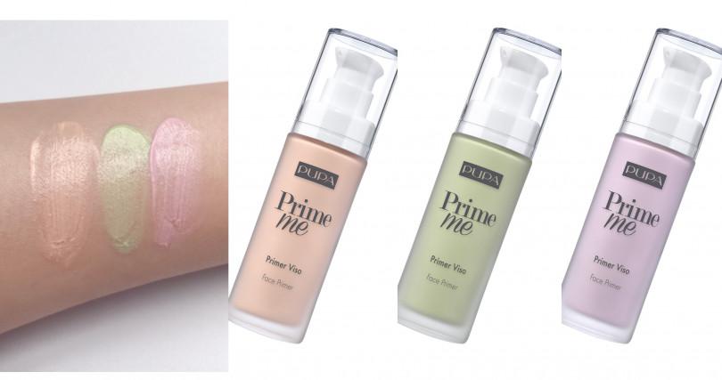 圖2>PUPA的淨瑕美肌飾底乳有綠色、紫色和蜜桃粉色,最特別的地方在於裡頭還 添加了特殊光澤細粉,所以擦塗完後,你會發現肌膚透出著微微自然光,美死人啦。(圖/品牌提供、吳雅鈴攝影)