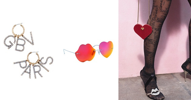 Giambattista Valli X H&M設計師聯名系列耳飾/NT1799,眼鏡/NT1999,紅色小包/NT1499,黑色絲襪/NT999,嘴唇高跟鞋/NT7999。(圖/品牌提供)