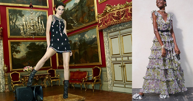 Giambattista Valli X H&M設計師聯名系列黑色小洋裝/NT5999,簍空蕾絲短靴/NT9999,蛋糕層次長洋裝/NT5999,毛羽拖鞋/NT4999。(圖/品牌提供)