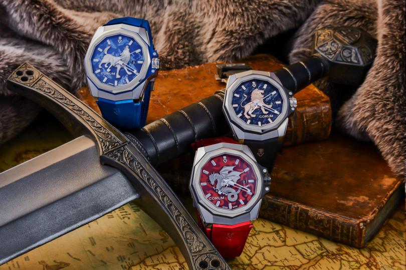 龍、狼、獅都是中世紀騎士家徽上常見的圖騰。(圖/崑崙錶提供)