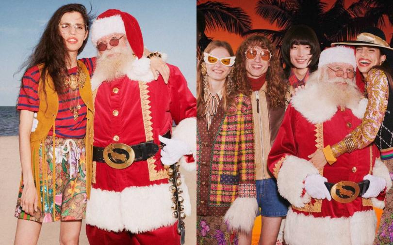 GUCCI本次假日禮讚系列廣告,別開生面的以溫暖的郵輪假期取代寒冷冬日印像,就連剛忙完的耶誕老人也特別前來享受難得假期。(圖/品牌提供)