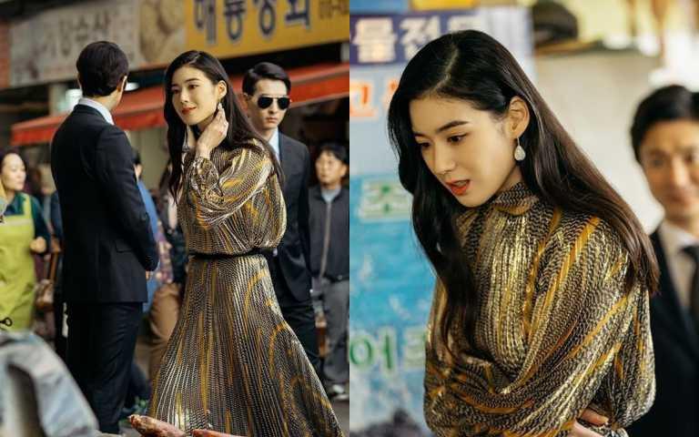 氣質超好,皮膚超白的鄭恩彩,因為有模特兒級的高挑身材,穿什麼都很時髦。(圖/品牌提供)