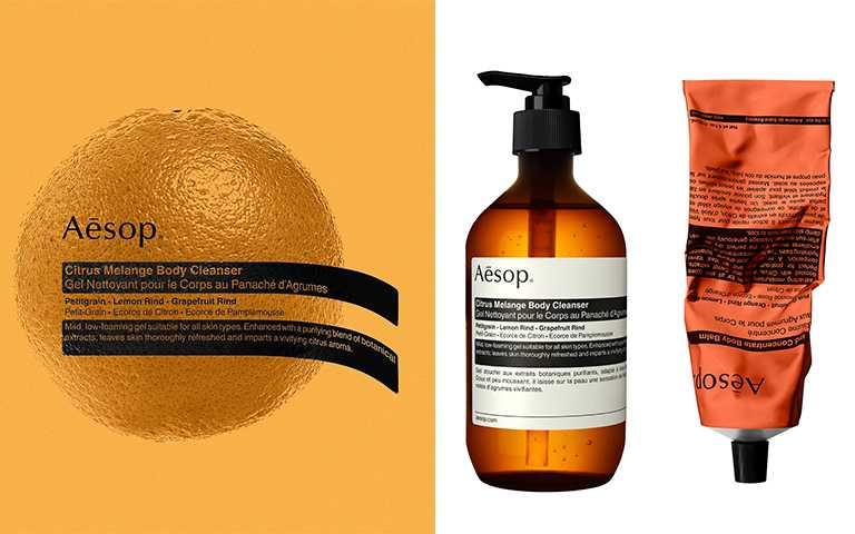 Aesop苦橙香檸身體潔膚露500ml/NT1,400,橙香身體乳霜120ml/NT1,100(圖/Aesop 提供)