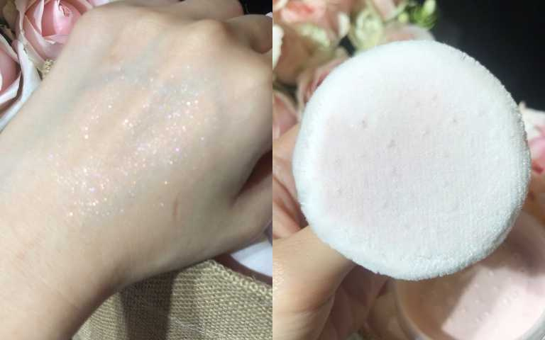 天鵝絨般的細緻粉撲,輕輕撲上肌膚就可以明顯擁有亮澤感。(圖/黃筱婷攝影)