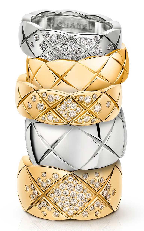 CHANEL「COCO CRUSH」系列,鑲鑽戒指,包含白金、黃金、Beige米色金等各式金質。(圖╱CHANEL提供)