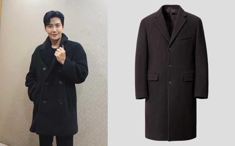 UNIQULO +J羊毛混紡徹斯特大衣/7,990元。(圖/金宣虎IG、品牌提供)