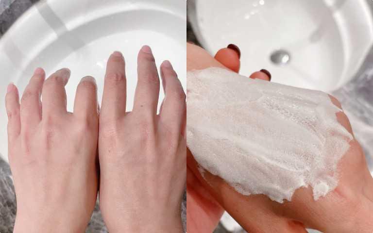 成分包括金蓮花萃取物能深入滲透皮膚底部,和瑞士蘋果精華,瑞士水耕植萃有助排除積聚的不良雜質,防止導致膚色暗沉的髒污積聚,為肌膚帶上隱形口罩,抵禦城市污染物的傷害。敷完的before 和 after。(圖/黃筱婷攝影)