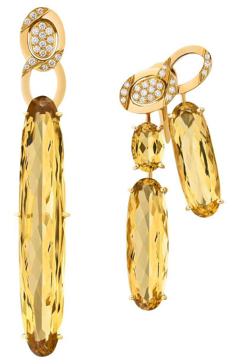 CHANEL高級珠寶系列Dazzling耳環,18K黃金鑲嵌黃色綠柱石及鑽石。(圖╱CHANEL提供)
