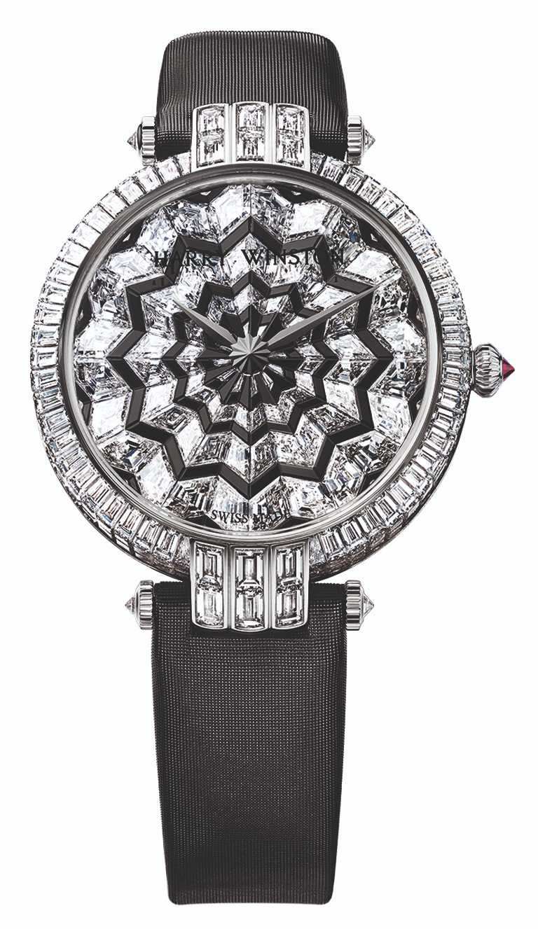 HARRY WINSTON「卓時Premier系列Hypnotic Star腕錶」,18K白金錶殼,36mm,277顆鑽石,108顆尖晶石,1顆紅寶石,限量1只╱10,800,000元。(圖╱HARRY WINSTON提供)