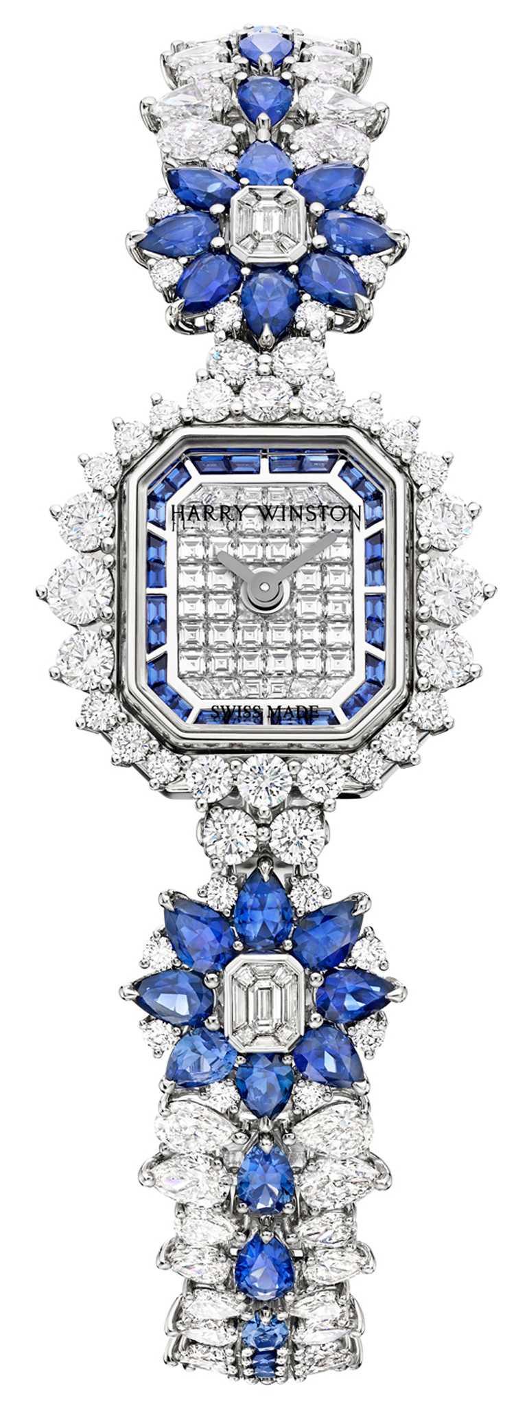 HARRY WINSTON「Marble Marquetry頂級珠寶腕錶」,鉑金錶殼,14.4mm,208顆鑽石,56顆藍寶石╱7,470,000元。(圖╱HARRY WINSTON提供)