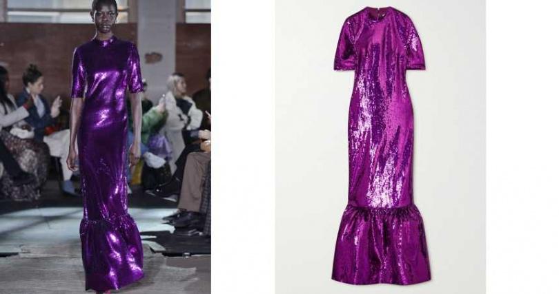 利用材質變換讓休閒也能充滿華麗感。HUISHAN ZHANG 魚尾拼接亮片洋裝/約74,700元(圖/品牌提供)