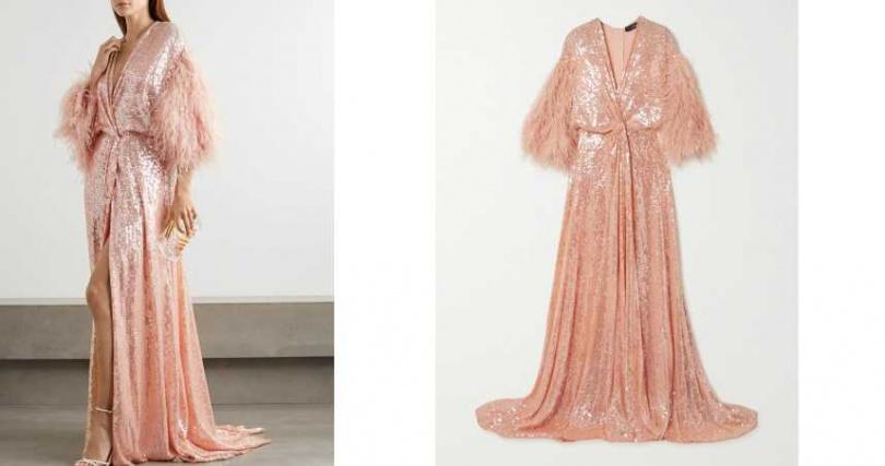 彷彿重回50、60年代的Great Gatsby。JENNY PACKHAM 粉色亮片羽毛綴飾晚裝/約179,800元(圖/品牌提供)