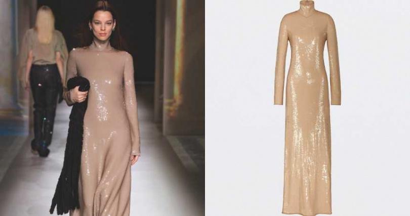 巧妙利用亮片光澤展現低調奢華。BOTTEGA VENETA 裸色亮片洋裝/約230,700元(圖/品牌提供)