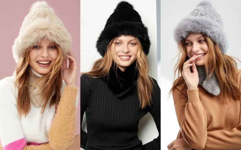 iROO限量「時尚狐狸毛毛帽」與「暖心獺兔毛圍巾」共有三色(圖/品牌提供)